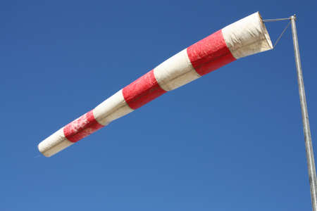 strong wind: Windsock. Instrument for measuring wind speed and direction. Stock Photo