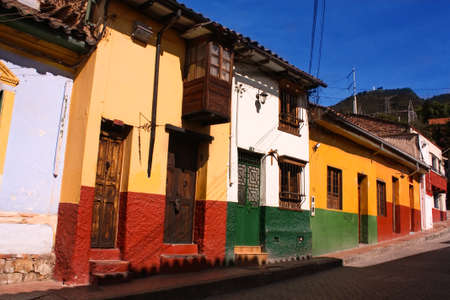 colonial: Street in the spanish colonial neighborhood of La Candelaria, Bogota, Colombia. Stock Photo