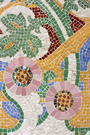 Floral mosaic. The Palau de la M�sica Catalana (Palace of Catalan Music) is a concert hall designed in the Catalan modernista style by the architect Llu�s Dom�nech i Montaner. It was built between 1905 and 1908. Barcelona, Catalonia, Spain.