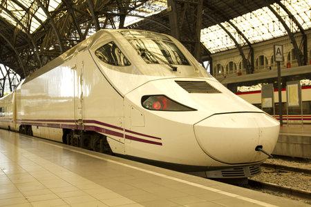 Train at railway station, in Barcelona, Catalonia, Spain.
