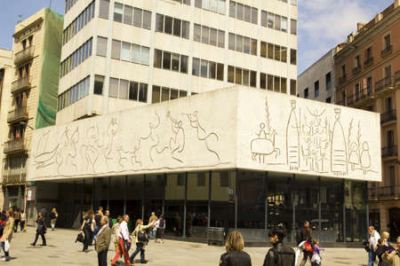 friezes: Pablo Picasso frize, in Barcelona.  Opposite the Cathedral of Barcelona, the building of the College of Architects of Catalonia exhibits three friezes of Pablo Picasso.