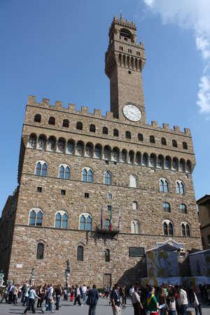 general cultural heritage: Overview of the Palazzo Vecchio in Piazza della Signoria, Florence Editorial