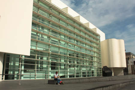 naif: Museum of Contemporary Art in Barcelona, MACBA, in the square of the angels. Photo taken on: October 8, 2009, In Barcelona, Spain