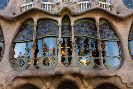 modernist: Gallery glass of Casa Batllo by Gaudi, Barcelona. The Casa Batllo (casa is home in Spanish) is a building designed by the architect Antoni Gaudi, leader of the Catalan Modernism. The building was constructed between 1904 and 1906. Photo taken on: Dec 1, 2