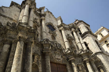The Havana Cathedral in Cuba. Detail of facade.  Stock Photo - 10928025