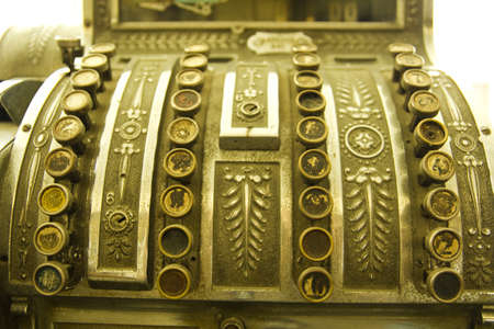 coin box: Cash register. Detail of an old cash register, charge in dollars. Stock Photo