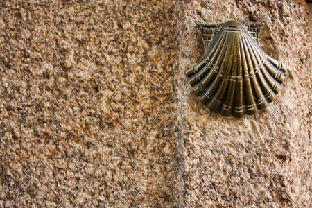pilgrim journey: Symbol of the pilgrims. Santiago de Compostela. Camino de Santiago. Year of St James.
