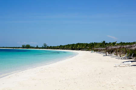 caribbean climate: Caribbean beach in the Cayo Las Brujas, in an island surrounded by reefs, clear waters and white sands. Stock Photo