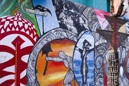HAVANA, AUG 21: Graffiti in Alley Hamel on August 21, 2001 in Havana, Cuba. El Alley Hamel (
