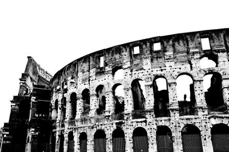 italia: The Colosseum or Coliseum (Colosseo) in Rome. Monochrome photography. Italy.