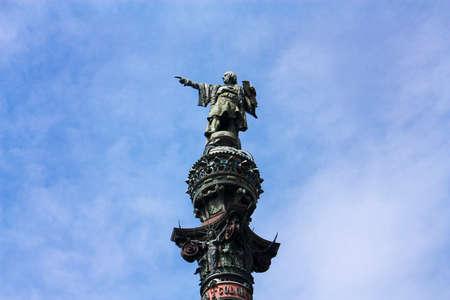descubridor: Cristóbal Colón, estatua, en el puerto de Barcelona, ??símbolo de la ciudad.