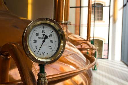Temperature Gauge. Old style of brewing beer.