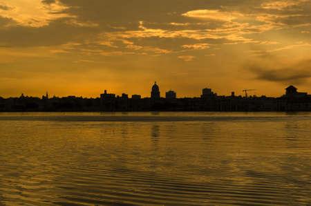 Sunset and skyline of the city of Havana. Cuba photo