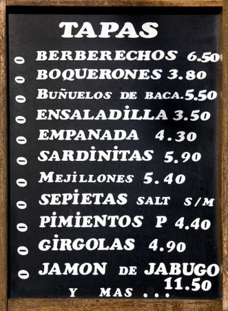 Typical spanish table of Tapas, small plates of food. Spain.