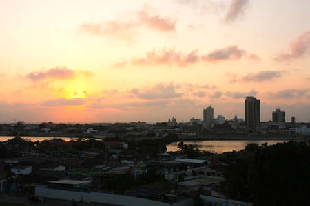 cartagena: Sunset in Cartagena de Indias. Caribbean colombian.