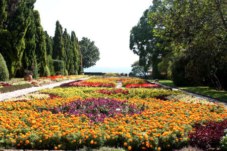 balchik: Botanic garden with flowers and sea. Residence of the Romanian queen by the black sea. Balchik, Bulgaria.  it has one of the largest botanical gardens in Europe.