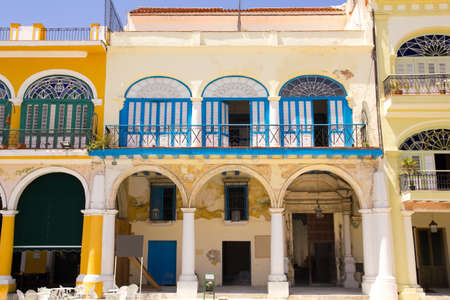 colonial house: Plaza Vieja - Old Town Square, is in Havana Vieja -Old. Typical colonial Spanish architecture. Havana, cuba.  Stock Photo