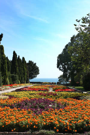 rose coloured: Botanic garden with flowers and sea. Residence of the Romanian queen by the black sea. Balchik, Bulgaria. it has one of the largest botanical gardens in Europe. Stock Photo