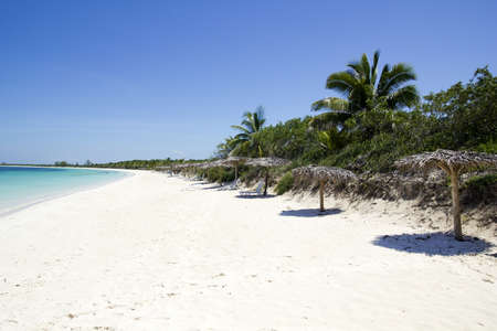 Caribbean beach in the Cayo Santa Maria, an island surrounded by reefs, clear waters and white sands  Standard-Bild