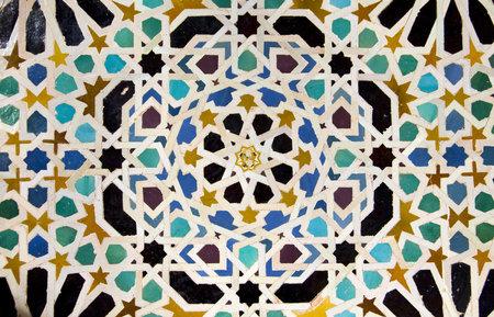 グラナダ: Machuca、Mexuar エントリ Nasrid 宮殿、ムハンマド V、XIV 世紀アルハンブラ、グラナダ、スペインによって建ての中庭の詳細