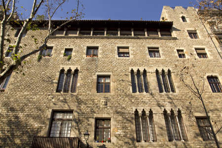 House facade in the medieval Gothic quarter of Barcelona  Paseo del Born  Barcelona, Catalonia, Spain  photo