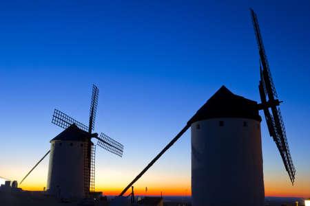 don quixote: Sunrise in Castile Campo de Criptana, Castile-La Mancha, Spain Stock Photo