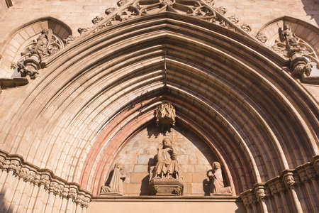 Details of facade of Santa Maria del Mar of Barcelona in Old Town Stock Photo - 13246120