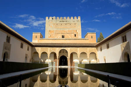 Courtyard in the Palacio Nazaries at the Alhambra in Granada, Spain: February 8, 2012 Stock Photo - 13365528