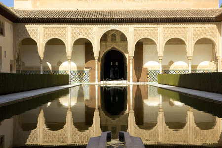 Courtyard in the Palacio Nazaries at the Alhambra in Granada, Spain: February 8, 2012