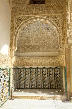 fourteenth: Detail of Nazaries palaces. Courtyard of Arrayanes. Fourteenth century. Alhambra, Granada, Spain: February 8, 2012