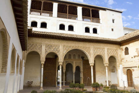 Patio de la Acequia in the Palacio del Generalife, part of the La Alhambra complex in  Granada, Spain: February 8, 2012