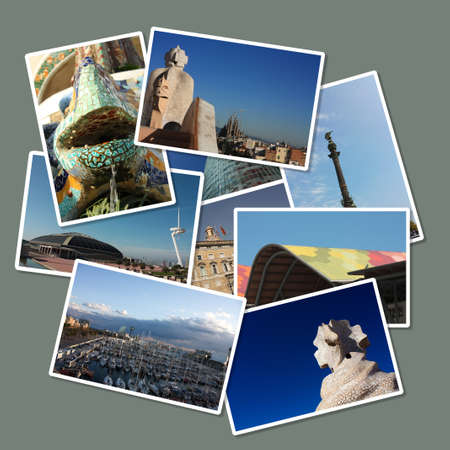 Cards with different images of the city of Barcelona: Colon, Gaud', Port, Europe Olympic square ... Spain Stock Photo - 13365527