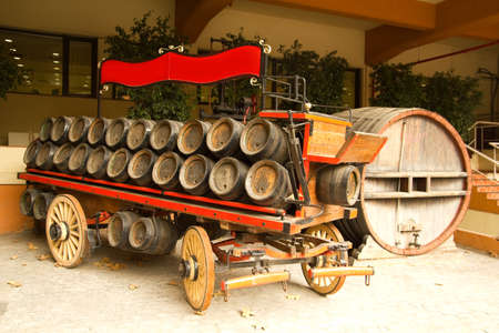 Old car. Distributor of beer, wine, cognac.... December 19, 2011 on Barcelona, Catalonia, Spain.  Stock Photo - 13575967
