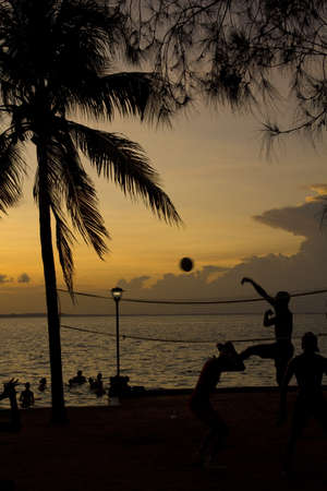 Silhouette of people playing beach volleyball at sunset Stock Photo - 13575964