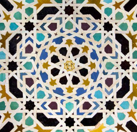 Typical Andalusian mosaic, very colorful, geometric motifs Arab cultural origin  Andalusia, Spain