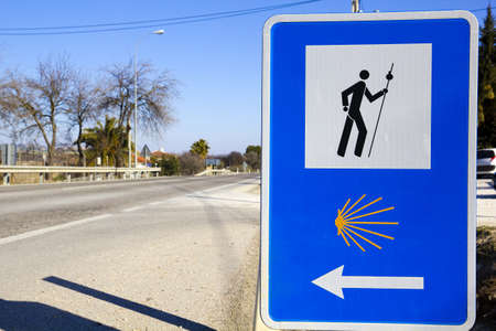 camino: Pilgrim sign at the Camino de Santiago de Compostela in Spain Stock Photo