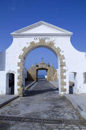cadiz: Old entrance to the Caleta beach in Cadiz, Andalucia, Spain