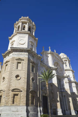 cadiz: Ancient Cathedral on Cadiz, Andalusia Spain Stock Photo