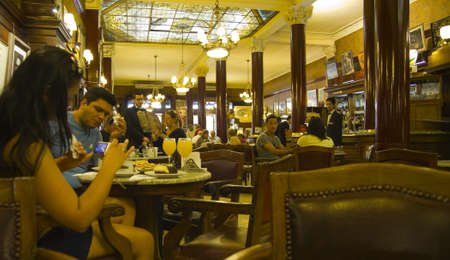 Cafe Tortoni, in May avenue, Buenos Aires, Argentina    Cafe Tortoni is the oldest coffee most famous Buenos Aires  September 2012 Stock Photo - 16070181