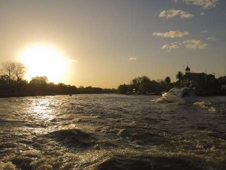 tigre: Yacht on El Tigre delta , El Rio de la Plata  El Tigre Delta  Argentina Stock Photo