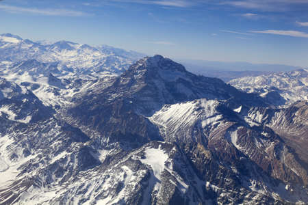 Mount Aconcagua in Mendoza, Andes Mountain Range, border between Argentina and Chile Argentina  highest pick in America continent   Aerial photo  Stock Photo