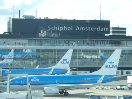 schiphol: AMSTERDAM - OCTOBER 6  KLM plane being loaded at Schiphol Airport October 6, 2012 in Amsterdam, Netherlands  There are 163 destinations served by KLM, many are located in the Americas, Asia and Africa
