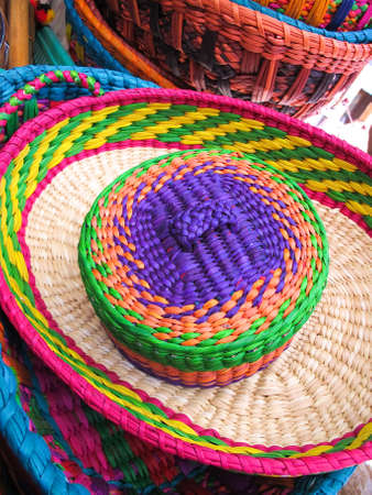 serape: Hats in a traditional Andean market products  Chile,