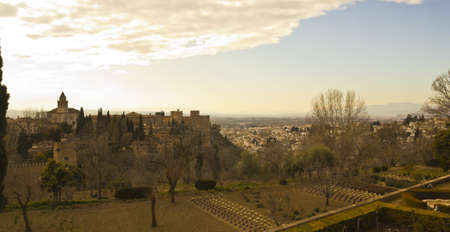 View of the city of Granada, with the Alhambra on the left  Picture taken from the Generalife  Andalucia, Spain photo