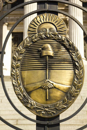 peron: Shield of Argentina  Detail from argentina shield of the Congress  The National Congress in Buenos Aires, Argentina Stock Photo
