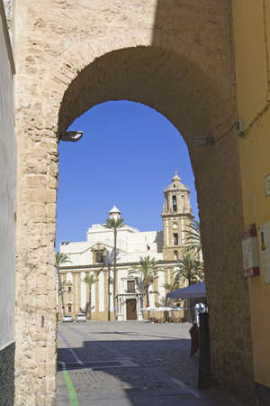 cadiz: Medieval entrance to the Cathedral Square, the historic center of the city of Cadiz