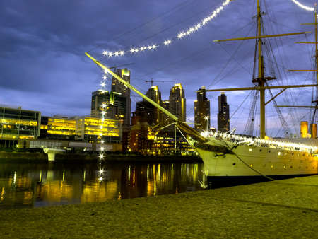 View of the old harbor area  Puerto Madero  by night, Buenos Aires, Argentina photo