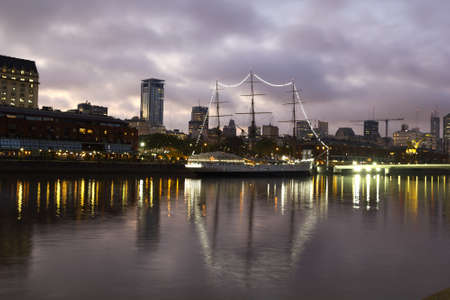 sarmiento: View of the old harbor area  Puerto Madero  by night, Buenos Aires, Argentina