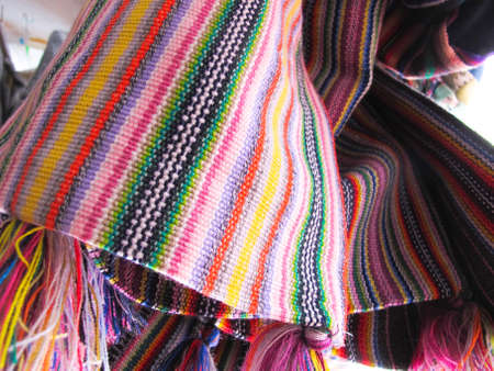 andean: Andean ponchos in a traditional product market  Chile,