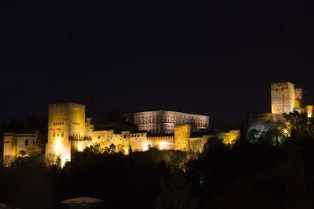 Panoramic of Alhambra. Granada by night. Andalusia, Spain.